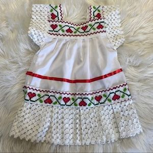 6-12 month old Mexican folklore girl white dress